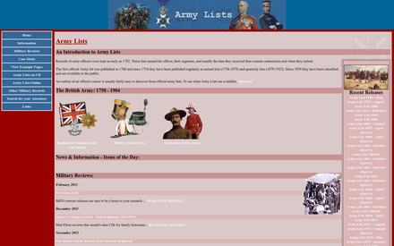 Army Lists site